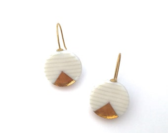 Gold Ceramic dangle earrings, porcelain earrings, white ceramic earrings, minimalist circle earring, porcelain ceramic jewelry