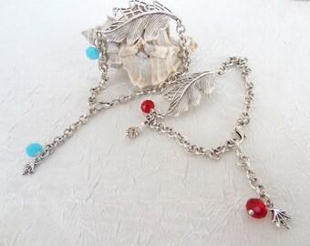 Leaf Bracelet, Silver Plated Bracelet, Red Bracelet, Blue Bracelet, Turkish Jewelry, Charm Bracelet, Adjustable Bracelet, Mother's Day Gifts