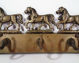 Vintage Three Horse Brass Key Holder