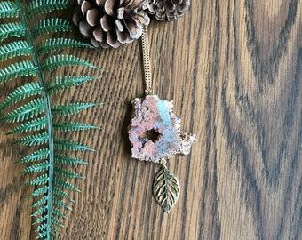 Sliced Rose Gold Druzy Necklace
