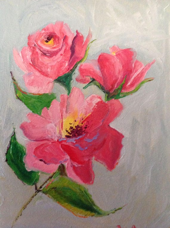 Pink Roses, Summer Floral Painting, Impressionist Flowers