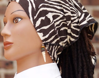 Brown & Creme Zebra Print Cozy Tie Soc for Long Hair including Locs and Braids