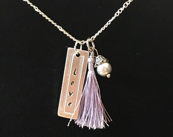 Love pendant with lavender tassel and beaded pearl charm