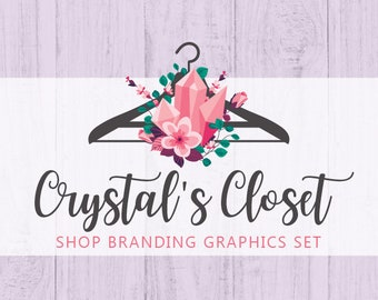 Boho Clothes Hanger Shop Branding Cover Photo Banners, Icons, Business Card, Logo Label + More - 13 Premade Graphics - CRYSTAL'S CLOSET