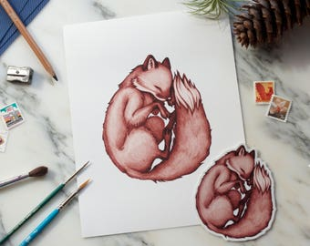 LIMITED EDITION (10) Sleepy Fox Giclee Fine Art Print + *FREE* sticker