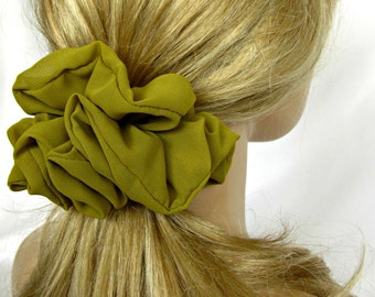 Olive  Green Scrunchie - #116 - Fall Color Hair Accessories - Handmade by Just Scrunchies - Office - Yoga - Beach - Hair Ties and Elastic