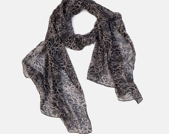 Lace Printed Chiffon Scarf, Light Chiffon scarf, Head scarf, Gift scarf, summer scarf, scarf on sale