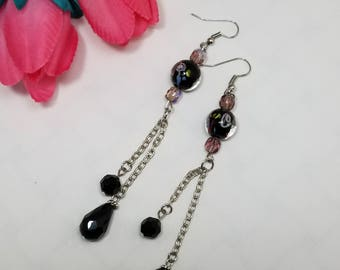 Purple Dangle Earrings, Puple Bead Earrings, Round Earrings, Silver Earrings, Dangle Earrings, Drop Earrings, Chain Earrings