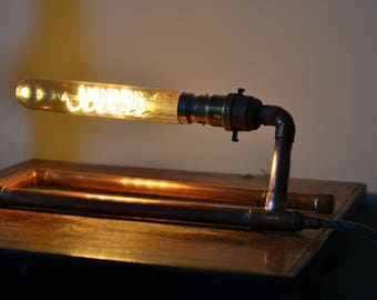 """Upcycled Copper Pipe """"Paperclip"""" Desk  Lamp"""