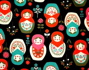 1 meter Big Matryoshka Russia Nesting Dolls Print Japanese Fabric Black nc45