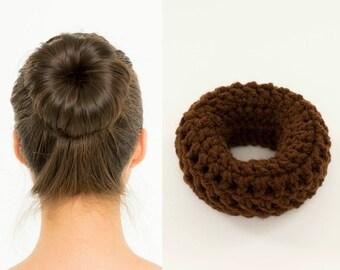 Dark Brown Sock Bun Maker / Crocheted Donut Bun Maker, Handmade, Women's, Teens, Girls Hair Accessory, Knit, Knitted, Crochet Hair Helper
