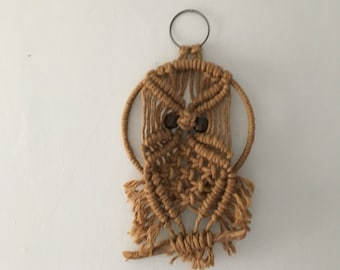 small macrame owl wall hanging with twig. macrame owl. macrame wall hanging. boho wall decor. small woven owl boho wall hanging wood