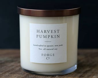 Harvest Pumpkin Soy Wax Candle with Bronze Metal Lid