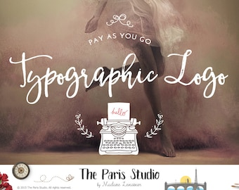 Typographic gold logo design Gold Foil logo photography logo website logo blog logo watermark logo business logo typographic logo Watercolor