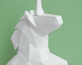Sculpture en papier licorne à monter