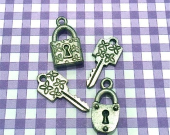 2 Keys & 2 Locks - 4 pieces-(Antique Pewter Silver Finish)