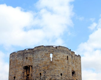 Clifford's Tower - York Castle England Great Britain United Kingdom Blue Green Brown 5x7 Photograph