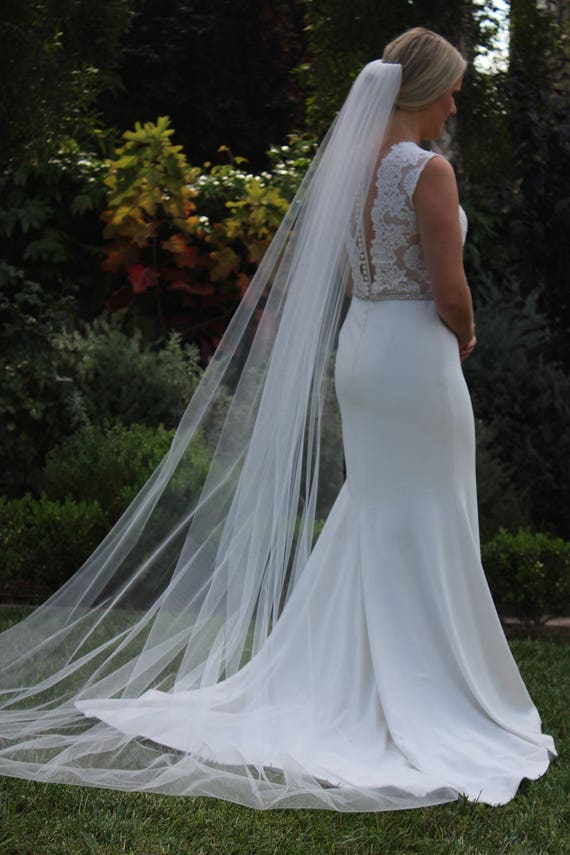 Kristin Chapel Length Veil Cut Edged Veil Bridal Veil