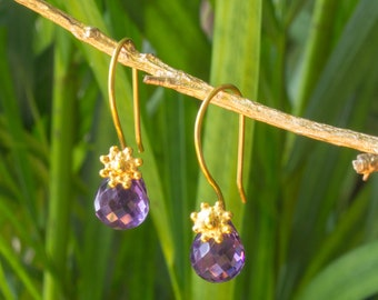 Earrings gold silver and Amethyst