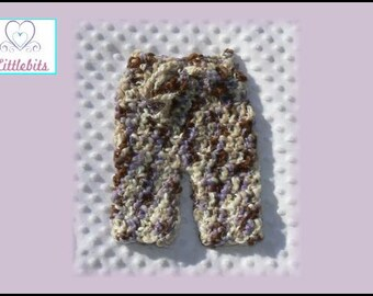 Newborn Baby Crocheted Multi-Coloured (Purple,Brown n Beige) Chunky Wool Pants 36cm Waist x 26cm Length
