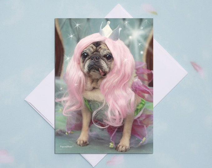 ENCOURAGEMENT CARD - Fairy Pug Pug Greeting Card - Pugs and Kisses 5x7