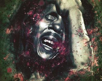 "bob marley, print 11,6x8,2"", music, portrait, poster, wall art, home decor, prints wall art, art print, dark art, digital art, reggae"