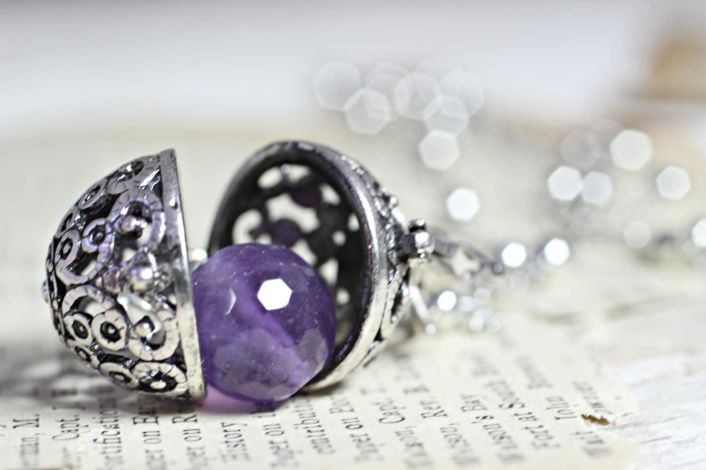 Wish Box Necklace Amethyst Necklace Antique Silver Orb