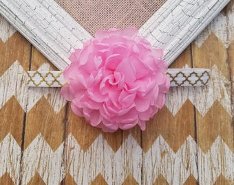 Pink flower headband, pink and gold headband, girls pink flower headband, toddler headband, baby headband, pink and gold girls outfit