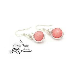 Morganite earrings, pink earrings, gemstone earrings, dangle earrings, silver earrings, wire wrap earrings, wire wrapped