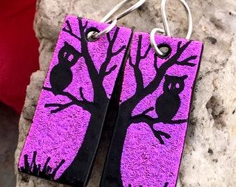 Tree & Owl Dichroic Glass Earrings - Hand Etched Split Design PINK Purple Glass Art