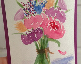 Watercolour card, Bouquet of Flowers