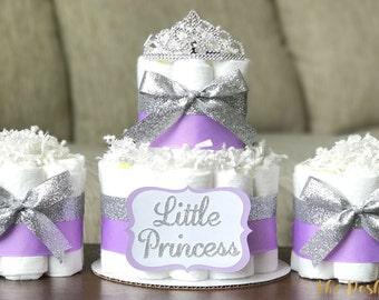 Superior Tiara Diaper Cake, Girl Little Princess Purple Lavender Silver Tiara Crown, Baby  Shower Decoration ...