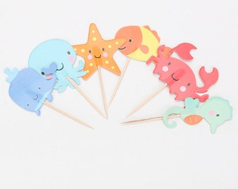 24 pc Colorful Ocean Sea Creatures Party Supplies Cardboard Cupcake Toppers - 6 assorted Designs with wooden sticks CO061018