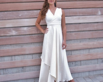 Silk Wedding Wrap Dress w/ Custom Sleeves - Elegant Simple Affordable Wedding Dress - Perfect for Plus Size, Nursing, Maternity, Petite