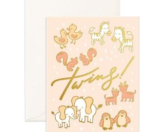 Twins Foil Greeting Card