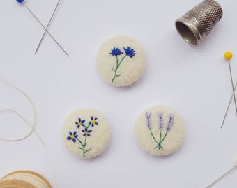 felt botanical badges -  set of 3 blue and purple flowersv- recycled eco felt - floral embroidery - eco stocking filler