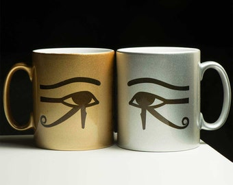 Egypt cup sun-eye and moon-eye - personalized with your name in hieroglyphs