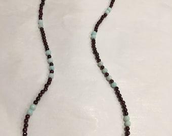 """Peru Blue Opal & Garnet 925ss Necklace 18"""""""