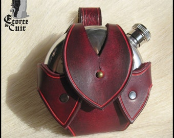 Door flaccid leather - included flange / dark red / Dark red leather flask holder / GN / LARP