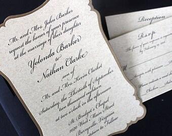 Wedding Invitation, Gold Invitation, Bridal Shower Invitation, Traditional Wedding Invitation, Adult Invitation, Wedding Invite   Die cut