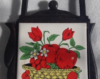 1950's Hand Painted Kitchen Trivet Tile