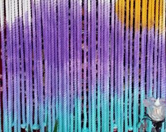 Macrame ombre dip dye wall hanging tapestry sun window curtain boho purple turquoise hippie wall decor art zen