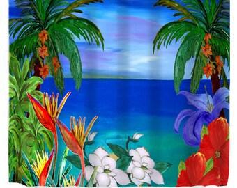 Tropical Floral Sea Breeze Garden Art Shower Curtain