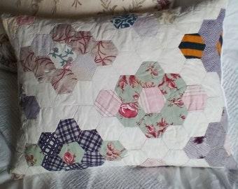 Antique patchwork quilt cushion ~antique patchwork fabric ~ hexagonal patchwork ~Victorian cushion