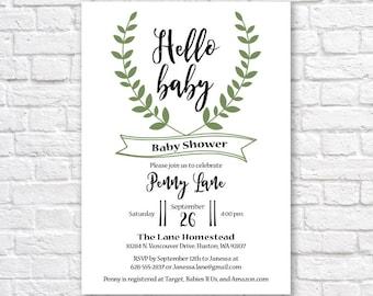 BABY SHOWER INVITATION- Hello Baby - Laurel Baby Shower Invitation- printable baby shower invitation- gender neutral baby shower invitation