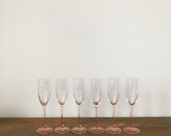 set of 6 blush pink champagne glasses. pink wine glasses. pink champagne rose wine glasses. boho decor. mid century stemware glam bar cart