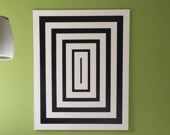 Geometric rectangles made of canvas, with optical illusion