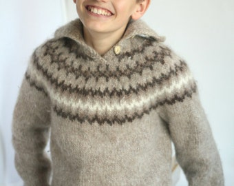 Vintage Lopi wool sweater made in Iceland pullover with button up Oatmeal Beige brown Warm Gentle Soft
