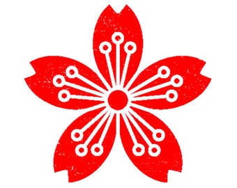 flower stamp, cherry blossom stamp, wooden stamp, hand carved