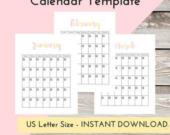 Calendar Printable, 2018, Wall Calendar, Monthly Calendar, Planner Printable,  PDF Calendar, 12 months, Desk Calendar, Calendar Wall